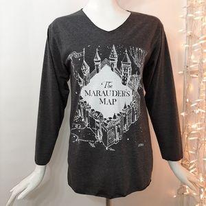 3/$18  Hogwarts The Maurader's Map Gray Top